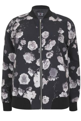 Black & Grey Floral Print Bomber Jacket