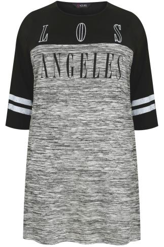 Black & Grey LA Varsity Print Colour Block Longline Top