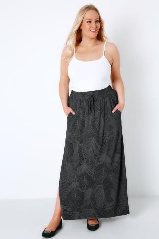 Black & Grey Leaf Print Pull On Maxi Skirt 103403
