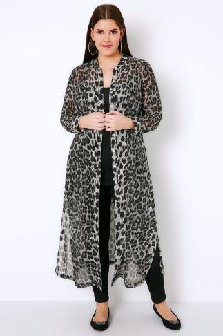 Black & Grey Leopard Print Maxi Shirt With Side Splits
