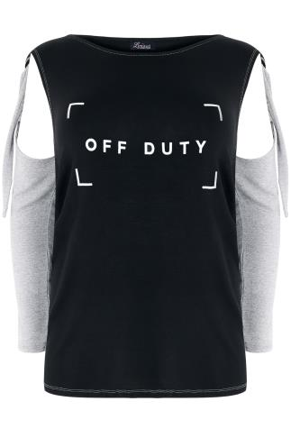 "LIMITED COLLECTION Black & Grey ""Off Duty"" Print Open Arm Top"