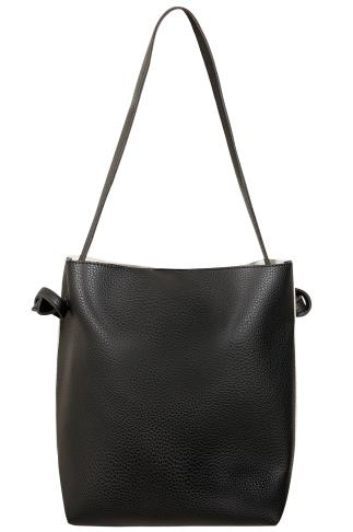 Bags & Purses Black & Grey Shopper Bag With Knot Handles 152080