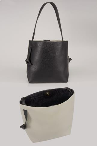 Black & Grey Shopper Bag With Knot Handles