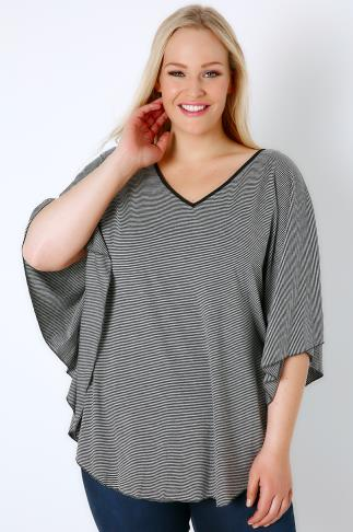 Black & Grey Stripe Cape Top With V-Neck