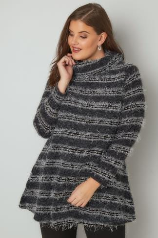Jumpers Black & Grey Striped Eyelash Jumper With Roll Neck 170347