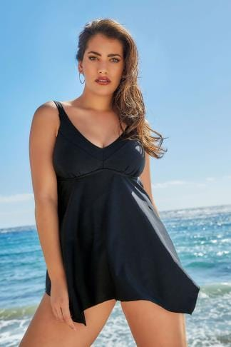 black cut out detail swim dress plus size 16 to 32