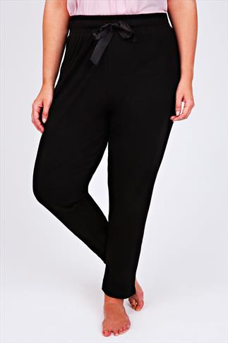 Pyjama Separates Black Harem Full Length Pyjama Bottoms 053390