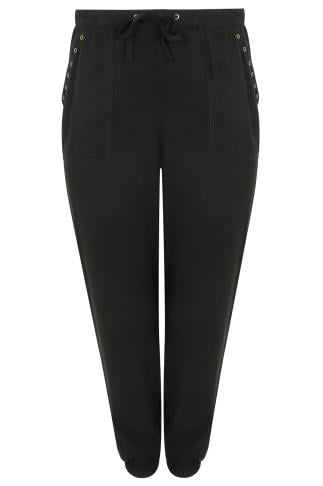 Black Harem Trousers With Gold Eyelet Detail & Pockets