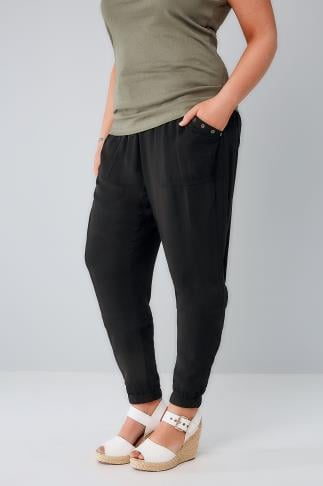 Harem Black Harem Trousers With Gold Eyelet Detail & Pockets 142019