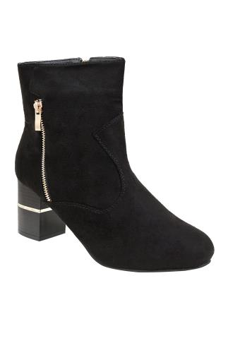 Black COMFORT INSOLE Heeled Ankle Boot With Gold Trim In E Fit