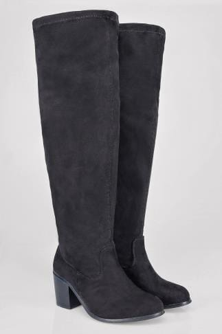 Wide Fit Knee High Boots Black Heeled Over The Knee Stretch Boot In EEE Fit 102163