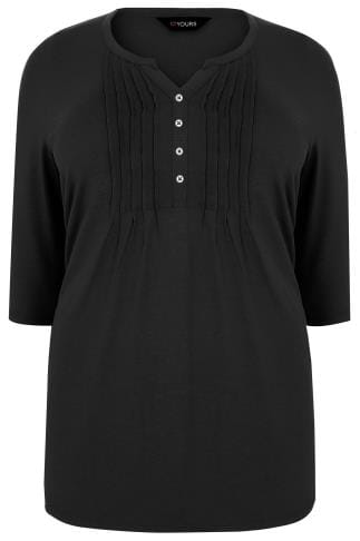Jersey Shirts Black Henley Top With Pin Tuck Front 132344