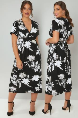 Midi Dresses Black & Ivory Floral Wrap Over Jersey Midi Dress With Waist Tie 136054