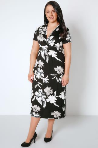 Black & Ivory Floral Wrap Over Jersey Midi Dress With Waist Tie 136054