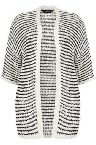 Black & Ivory Kimono Cardigan With Crochet Stripe Detail