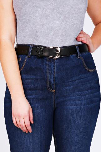 Black Jean Belt With Plaited Trim 039031