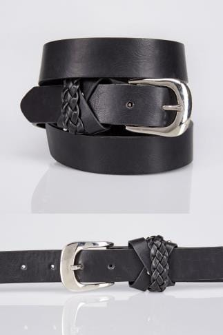 Black Jean Belt With Silver Buckle