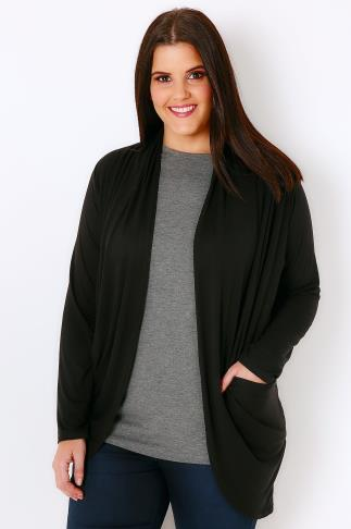 Black Jersey Cardigan With Drape Pockets