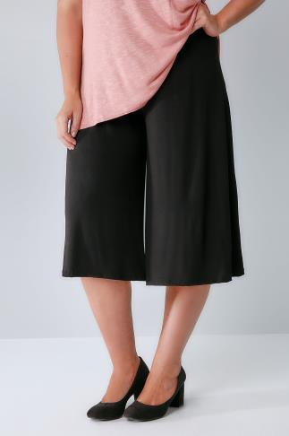 Cropped Trousers Black Jersey Culottes 144045