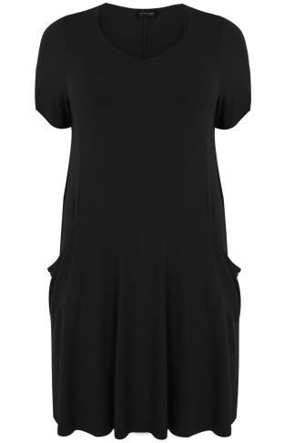 Black Jersey Short Sleeve Dress With Drop Pockets