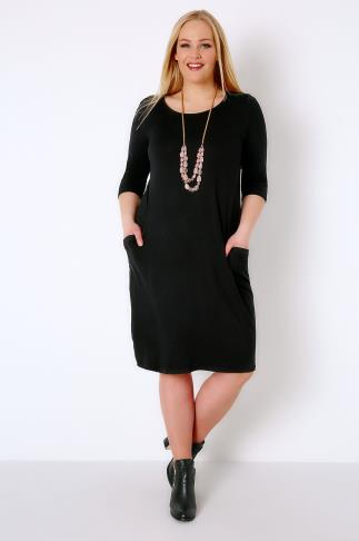Black Jersey Dress With Drop Pockets & 3/4 Length Sleeves 136032