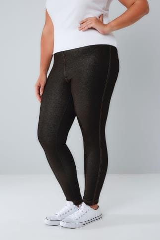 Jeggings Black Jersey Jeggings With Gold Stitch Detail 101024