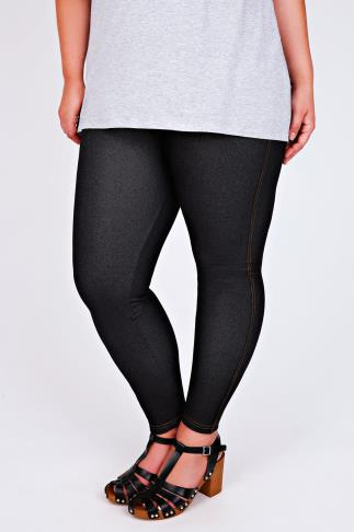 Black Jersey Jeggings With Yellow Denim Look Stitch Detailing