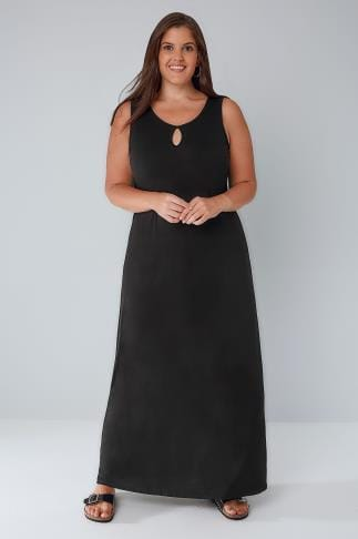 Maxi Dresses Black Jersey Maxi Dress With Keyhole Detail 136067