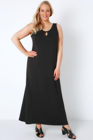 Black Jersey Maxi Dress With Keyhole Detail 136067