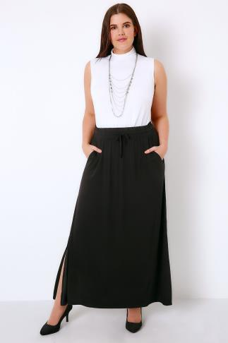 Black Jersey Maxi Skirt With Elasticated Draw String Waist 103358