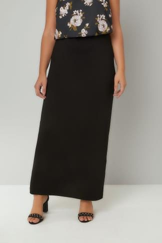 Maxi Skirts Black Jersey Maxi Tube Skirt With Elasticated Waistband 160038