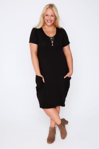Black Dresses Black Jersey Short Sleeve Dress With Drop Pockets 102018