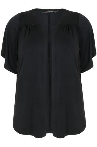 Black Jersey Shrug With Angel Sleeves & Ruched Shoulder Detail