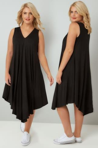 Tunic Dresses Black Jersey Swing Tunic Dress 136191