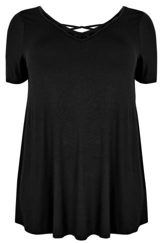 Jersey Black Jersey T-shirt With Cross Over Straps 132467
