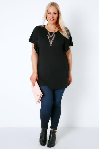 Black Jersey Top With Angel Sleeves 156096
