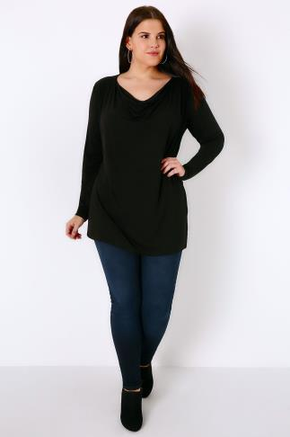 Jersey Tops Black Jersey Top With Cowl Neck 156061