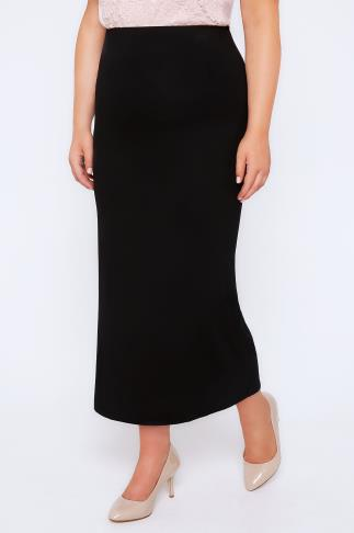Black Jersey Tube Maxi Skirt