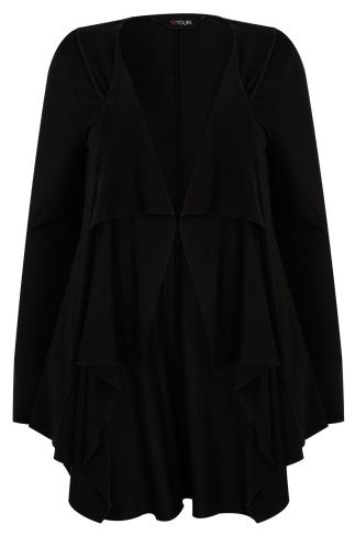 Black Jersey Waterfall Cardigan