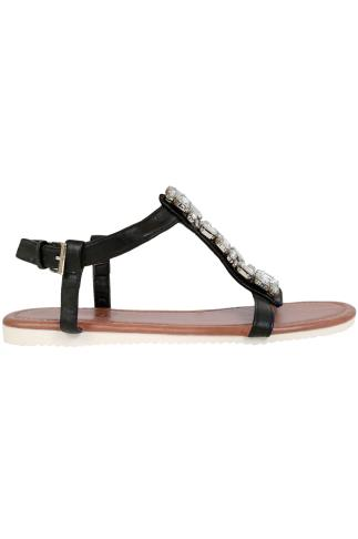Wide Fit Sandals Black Jewel Trim E Fit Sandal With Cleated Sole 057202