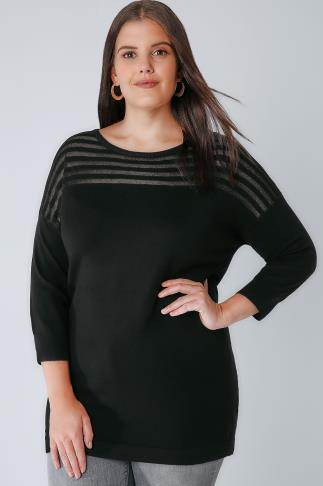 Jumpers Black Jumper With Sheer Striped Yoke 124012