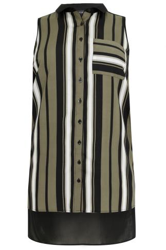 Black & Khaki Stripe Sleeveless Button-Up Shirt With Dip Hem