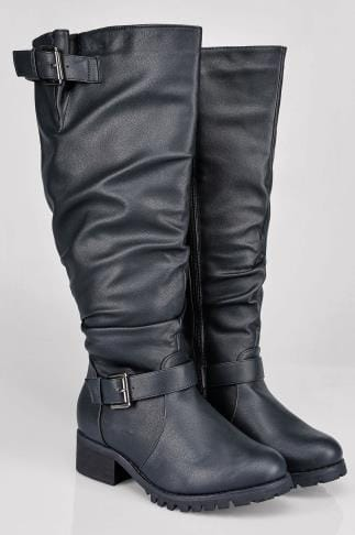 Black Knee High Biker Boot With Buckles In EEE Fit