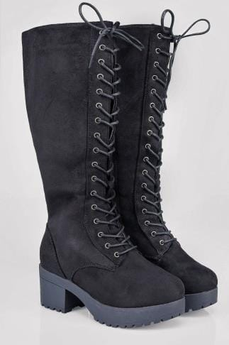 Wide Fit Knee High Boots Black Knee High Lace Up Heeled Boot In EEE Fit 102162