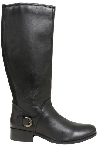 Black Knee High Leather Riding Boot With Buckle Trim & XL Calf Fitting In EEE Fit 049603