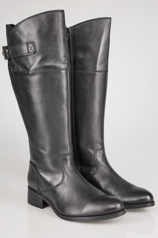 Wide Fit Knee High Boots Black Leather Knee High Riding Boots With Elasticated Panels In EEE Fit 053776