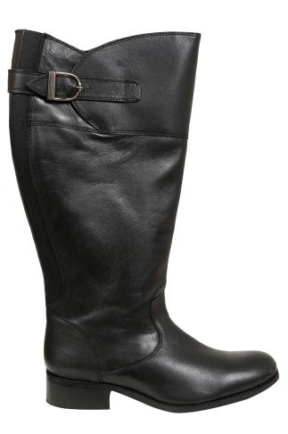 Black Knee High Leather Riding Boots With XL Calf Fitting In EEE Fit 053776