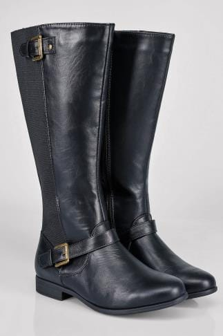 Wide Fit Knee High Boots Black Knee High Riding Boot With Buckle Detail With XL Calf Fitting In EEE Fit 102201