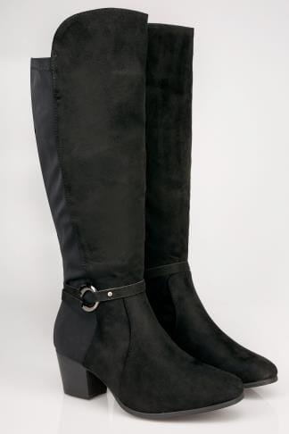 Wide Fit Boots Black Knee High Stretch Heeled Boots With Buckle Strap In TRUE EEE Fit 154085
