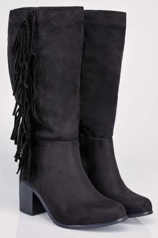 Black Knee High Suedette Heeled Tassel Wide Calf Boot EEE Fit